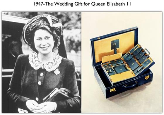 cadeau de mariage la mallette de voyage  S.T. DUPONT elisabeth II d'Angleterre