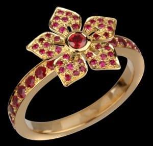 Etoile Florale rubis or jaune