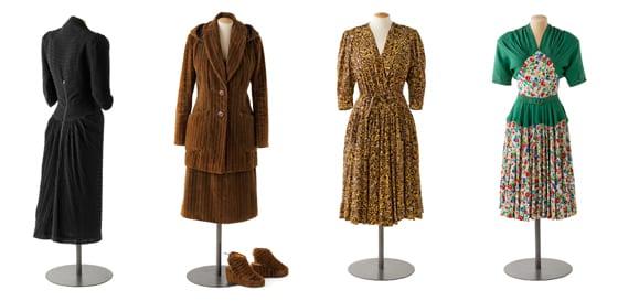 Robe de cocktail Maggy Rouff , 1942 _Tailleur, gilet et chaussures, 1943_Robe, 1944_Robe de jour, 1943-1944_© Pierre Verrier
