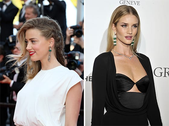 AMBER HEARD  et Rosie Huntington Whiteley en Grisogono.