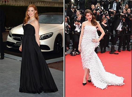 Jessica Chastain en Givenchy par ricardo Tisci et Laetitia casta en Christian Dior Haute Couture