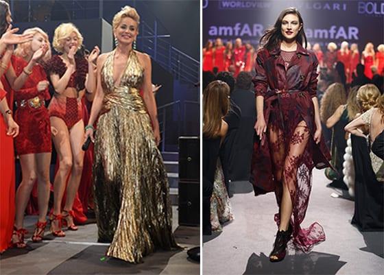 Sharon Stone en Emilio Pucci et Jacquelyn Jablonski en Burberry au Gala de l'AMFAR