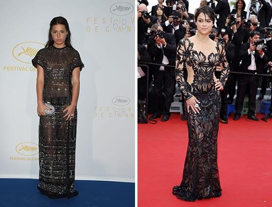 Cannes_2015_Adele_Exarchopoulos_en_Valentino_et_Michelle_Rodriguez_en Yanina_couture
