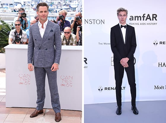 Chris_Pine_et_Lucky_Blue_Smith_en_Giorgio_Armani_Cannes_2016_©_SGP.