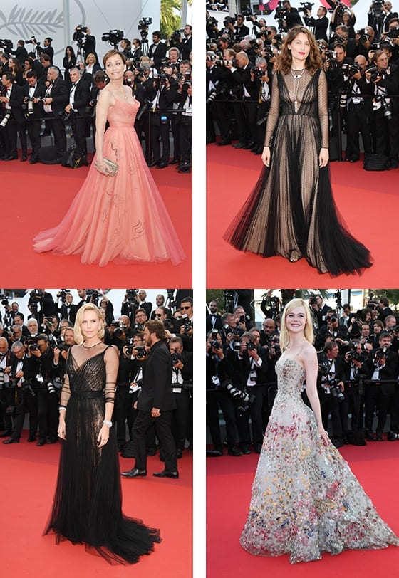 Cannes_2017_Kristin_Scott_Thomas_Laetitia_Casta_Charlize_Theron_Elle_Fanning_en_Dior_©_Getty_Images
