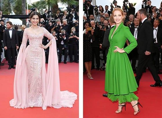 Cannes_2017_Sonam_Kapoor_en _Elie_Saab_et_Jessica_Chastain_en_Dior