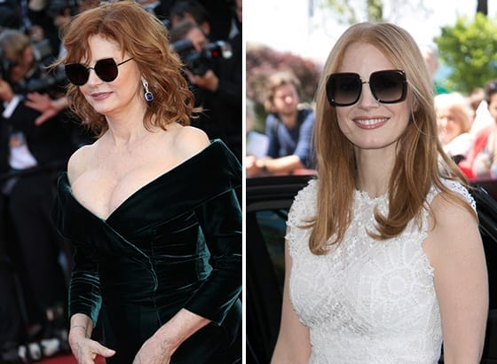 Cannes_2017_Susan_Sarandon_Gentle_Monster_x_Song_of_style_sunglasses_et_Jessica_Chastain_lunettes_Elie_Saab