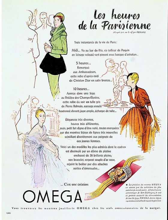 Omega_French_advertisement_from_1947_illustrated_by_Rene_Gruau