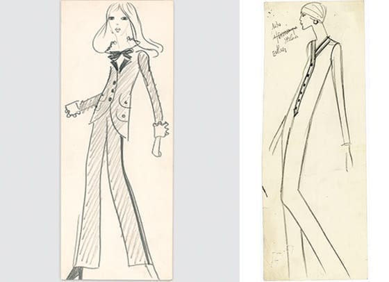 Yves_Saint_Laurent_ croquis_smoking_et_Jumpsuit