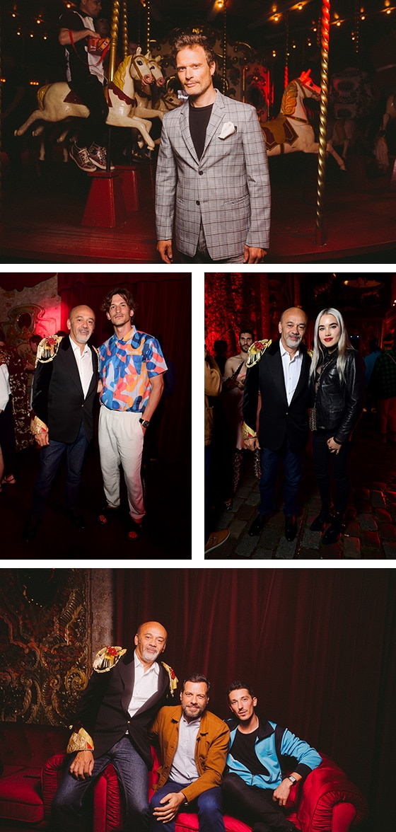 Loubicircus-Party_Axel Kiener, Jarred Scott, Isamaya, Christian Louboutin Larrent Lafitte et Paul Granier