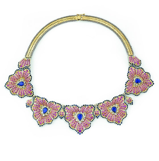 Vente-Sothebys_Lot_102_Buccellati_Collier_saphirs_rubis_et_diamants_Anthurium